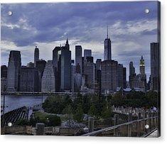 Downtown Manhattan From Brooklyn Bridge Park Acrylic Print by E Osmanoglu