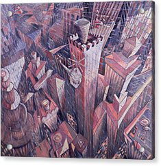 Downtown Manhattan Hailstorm, 1995 Oil On Canvas Acrylic Print