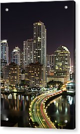 Downtown Miami From Brickell Key Acrylic Print by Andres Leon