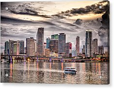 Downtown Miami Skyline In Hdr Acrylic Print