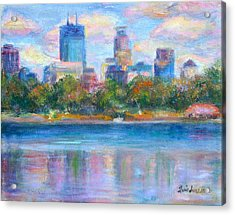 Downtown Minneapolis Skyline From Lake Calhoun Acrylic Print