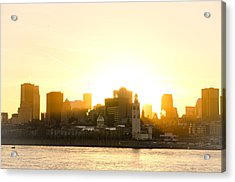 Downtown Montreal In Fall Season Dusk Acrylic Print by Eric Soucy