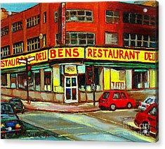 Downtown Montreal Memories Ben's Restaurant Deli  Le Fameux Smoked Meat Produits By Carole Spandau Acrylic Print by Carole Spandau