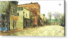 Downtown Newago Michigan Acrylic Print by Rosemarie E Seppala