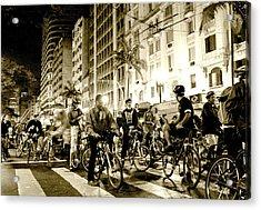 Downtown Night Bikers Acrylic Print