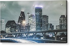 Downtown Of Houston In The Rain At Night Acrylic Print by Onest Mistic