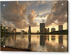Downtown Orlando Skyline Lake Eola Sunset II Acrylic Print by Silvio Ligutti