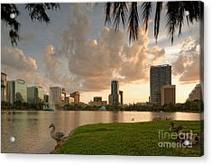Downtown Orlando Skyline Lake Eola Sunset Acrylic Print by Silvio Ligutti
