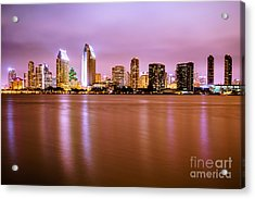 Downtown San Diego Skyline At Night Acrylic Print by Paul Velgos