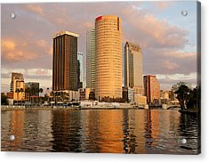Downtown Tampa At Dusk On Hillsborough River Acrylic Print by Daniel Woodrum
