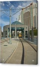 Downtown Tampa Streetcar Acrylic Print by Carolyn Marshall
