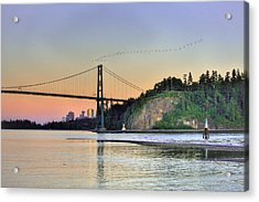 Downtown Vancouver And Lions Gate Bridge At Twilight Acrylic Print by Eti Reid