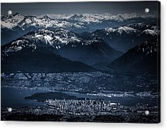 Downtown Vancouver And The Mountains Aerial View Low Key Acrylic Print by Eti Reid