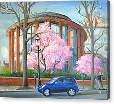 Acrylic Print featuring the painting Doylestown Court House by Oz Freedgood