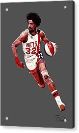 Dr. J Acrylic Print by Charley Pallos