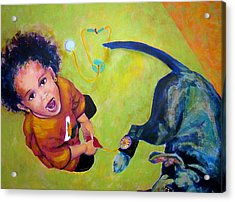 Acrylic Print featuring the painting Dr. Nana And The Blue Dog by Jodie Marie Anne Richardson Traugott          aka jm-ART