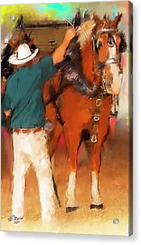 Draft Horse And Trainer Acrylic Print by Ted Azriel