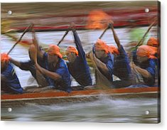 Dragon Boat Racing Thailand Acrylic Print by Richard Berry