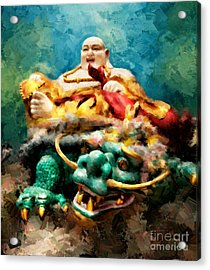 Dragon Face Acrylic Print by Adrian Evans