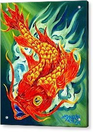 Acrylic Print featuring the painting Dragon Koi by The GYPSY And DEBBIE