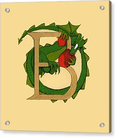 Acrylic Print featuring the drawing Dragon Letter B by Donna Huntriss