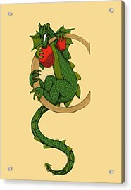 Dragon Letter C Acrylic Print by Donna Huntriss