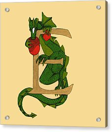 Acrylic Print featuring the mixed media Dragon Letter E by Donna Huntriss