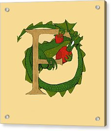 Acrylic Print featuring the drawing Dragon Letter F by Donna Huntriss