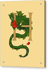Acrylic Print featuring the drawing Dragon Letter H by Donna Huntriss