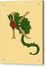 Acrylic Print featuring the drawing Dragon Letter K by Donna Huntriss