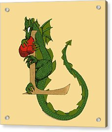 Acrylic Print featuring the drawing Dragon Letter L by Donna Huntriss