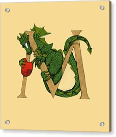 Acrylic Print featuring the drawing Dragon Letter M by Donna Huntriss