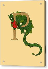 Acrylic Print featuring the mixed media Dragon Letter P by Donna Huntriss