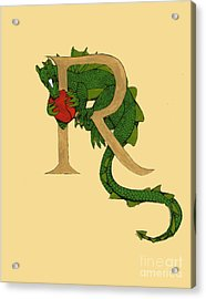 Acrylic Print featuring the mixed media Dragon Letter R by Donna Huntriss