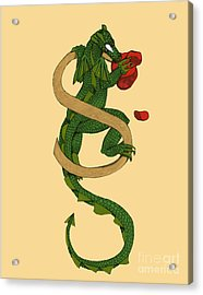 Acrylic Print featuring the mixed media Dragon Letter S by Donna Huntriss