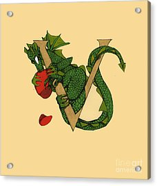 Acrylic Print featuring the mixed media Dragon Letter V by Donna Huntriss