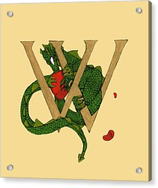 Dragon Letter W Acrylic Print by Donna Huntriss