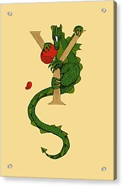 Dragon Letter Y Acrylic Print by Donna Huntriss