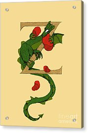 Acrylic Print featuring the mixed media Dragon Letter Z by Donna Huntriss