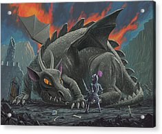 Dragon Looking At Next Meal Acrylic Print by Martin Davey