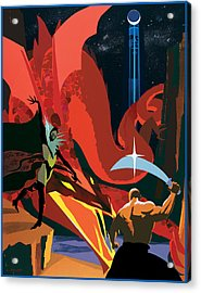 Dragon Slayer Acrylic Print by Clifford Faust