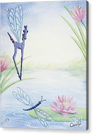 Acrylic Print featuring the painting Dragonflicker by Cathy Cleveland