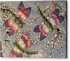 Acrylic Print featuring the painting Dragonflies 5 by Megan Walsh