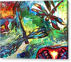 Dragonflies Abstract 3 Acrylic Print by Genevieve Esson