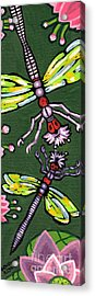 Dragonflies And Water Lilies Acrylic Print by Genevieve Esson