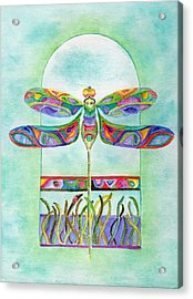 Acrylic Print featuring the painting Dragonfly Flight by Tamyra Crossley