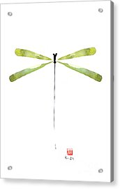 Dragonfly Green Jewel Forest Jewelry Lake Water Watercolor Painting    Acrylic Print by Johana Szmerdt
