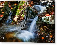 Dragons Teeth Icicles Waterfall Great Smoky Mountains Painted  Acrylic Print by Rich Franco