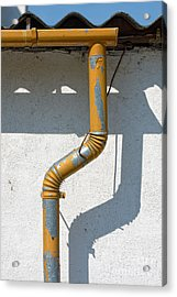 Drainpipe White Structured Wall  Acrylic Print