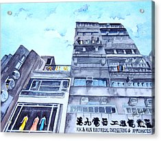 Drama Above The Street Level Shops Hongkong Acrylic Print by Ruth Bodycott